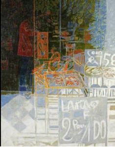 """Colin Giffard RWA: Alimentation 1983, 46"""" by 36"""", acrylic on canvas"""
